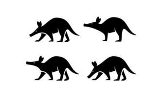 minimaler Erdferkel schwarzer Vektor-Logo-Design vektor