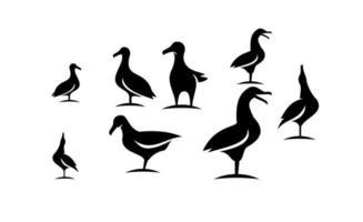 Set Sammlung von Möwe schwarz Vektor Icon Design Illustration
