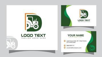 Traktor Anfangsbuchstabe d Logo und Visitenkarte vektor