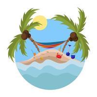 Hängematte und Palmen auf der Insel. Sommerzeit auf der Insel. vektor