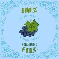 Dies ist eine Doodle-Illustration von Trauben mit Vintage-Mustern und Schriftzug 100 Prozent Bio-Lebensmittel vektor