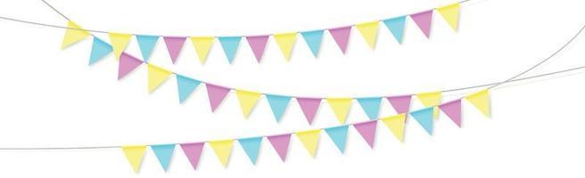 hängende Feiertagsfahnen verschiedener Farben auf einem weißen Hintergrund vektor