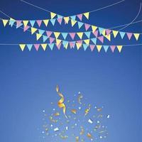 hängende Feiertagsfahnen verschiedener Farben auf einem blauen Hintergrund vektor