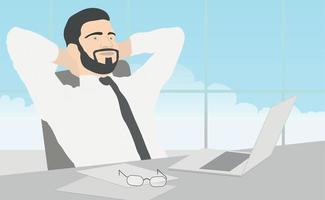 Geschäftsmann im weißen Hemd sitzt an seinem Schreibtisch - Vektor