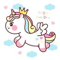 niedliche Einhorn Vektor Prinzessin Pegasus Pony Cartoon fliegen in Himmel kawaii Tiere Hintergrund Serie Märchen Charaktere Pferd