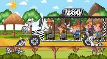 Safari tagsüber Szene mit vielen Kindern, die Zebragruppe beobachten vektor