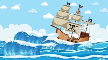Ozeanszene zur Tageszeit mit Piratenschiff im Karikaturstil vektor