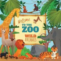 Willkommen in der Zoo-Cartoon-Poster-Vektorillustration vektor