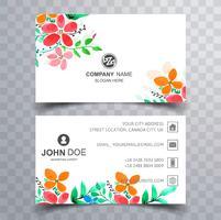 Modernt kolviktigt blommigt visitkort set design vektor