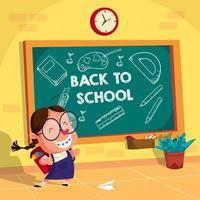 zurück zu Schulkindern Illustrationshintergrund vektor