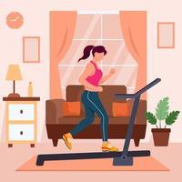 neues normales Heimfitness-Gymnastik-Training vektor