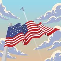 Flacher Illustrationsentwurf der amerikanischen Flagge 4. Juli vektor