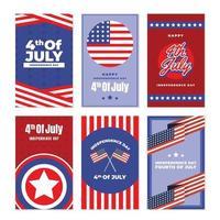 4. Juli Unabhängigkeitstag Festkarte Set Design vektor