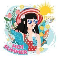 Sommer mit Mädchen, die gerne Eis trinken vektor