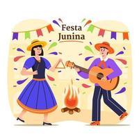 Festa Junina Brasilien Festival Paar tanzende Illustration vektor