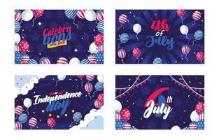 4. Juli Unabhängigkeitstag Kartendesign Typohraphie vektor