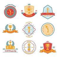 Trophäenpreise flache Embleme setzen Vektorillustration vektor