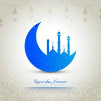 Ramadan Kareem stilvoller kreativer Mondhintergrund vektor