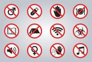 Verbotsschilder und verschiedene Warnsignalsymbole vektor