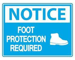 Beachten Sie Fußschutz erforderlich Wandschild auf weißem Hintergrund vektor