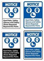 Hinweisschild Schutzhelme Schutzbrille und Sicherheitsschuhe über diesen Punkt hinaus mit ppe-Symbol erforderlich vektor