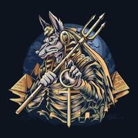 Anubis, der ägyptische Gott der Mumien vektor