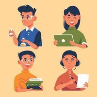 Sammlung von Schülern, die schulische Aktivitäten ausführen vektor