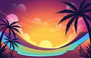 schöner Sonnenuntergang auf Sommerhintergrund vektor