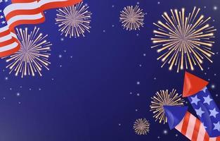 4. Juli Unabhängigkeitstag USA Flagge Hintergrund vektor