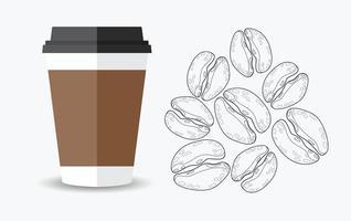 Kaffeetasse und Kaffeebohnen vektor