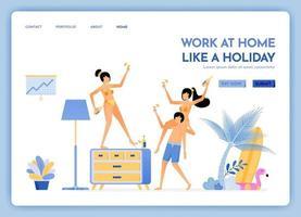 Reise-Website mit Thema der Arbeit zu Hause wie Urlaub Reisen zu tropischen Insel Stränden und weiter über das Internet Vektor-Design kann für Poster Bannerwerbung Website Web Mobile Flyer verwendet werden vektor