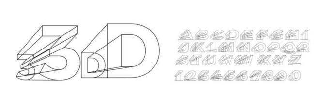 Geometrische Alphabetschrift des 3D. Buchstaben, Zahlen und Symbole. vektor