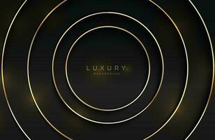 realistisk 3d bakgrund med glänsande guld ring form vektor gyllene cirkel form på svart yta