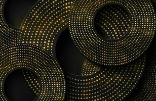 lyxig elegant bakgrund med glänsande guld cirkel element och prickar partikel på mörk svart metall yta vektor
