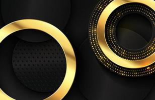 lyxig elegant bakgrund med glänsande guld cirkel element och prickar partikel på mörk svart metall yta elegant abstrakt tapet bakgrundsdesign vektor