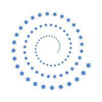 Spiralschneeflocken auf weißem Hintergrund vektor