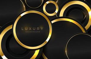 realistisk 3d bakgrund med glänsande guld cirkel form vektor gyllene cirkel form på svart yta grafisk designelement