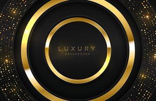 realistisk 3d bakgrund med glänsande guld ring form vektor gyllene cirkel form på svart yta grafisk designelement