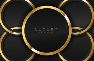 realistisk bakgrund med glänsande guld ring form vektor gyllene cirkel form på svart yta grafisk designelement