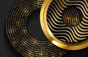 lyxig 3d realistisk bakgrund med guldcirkelform vektorillustration av svarta cirkelformar texturerat med gyllene vågiga linjer vektor