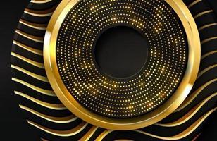 realistischer Luxushintergrund 3d mit Goldkreisform-Vektorillustration von schwarzen Kreisformen, die mit goldenen Wellenlinien texturiert werden vektor