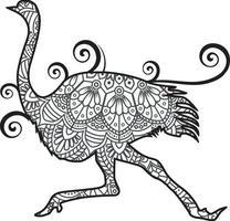 Straußenmandala. Vintage dekorative Elemente. orientalisches Muster, Vektorillustration. vektor