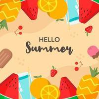 flacher Sommer Essen Hintergrund vektor