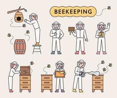 Imker ziehen Bienen auf und sammeln Honig vektor