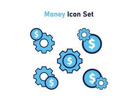 Symbolsatz mit Geldsymbol. Konzept der finanziellen Anpassung. Vektorillustration, Vektorikonenkonzept vektor