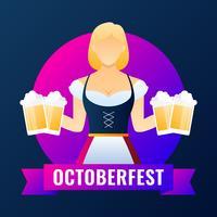 Schöne Kellnerin mit Vektor-Illustration des Bieres in der Hand