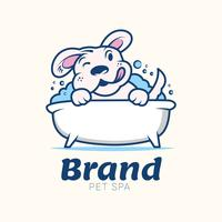 Hundewäscherei-Haustier-Gesundheitswesen-Lösungs-Retro- Logo-Design-Schablone