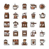 Satz Kaffeesymbole mit Umrissfarbstil. vektor