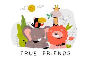Rolig Söt Cartoon Animal Vänner I Jungle Vector Flat Illustration