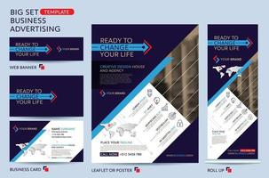 große Set-Vorlage für Geschäftswerbung. Broschüre, Faltblattvorlage. Cover Book Präsentationsportfolio. vektor